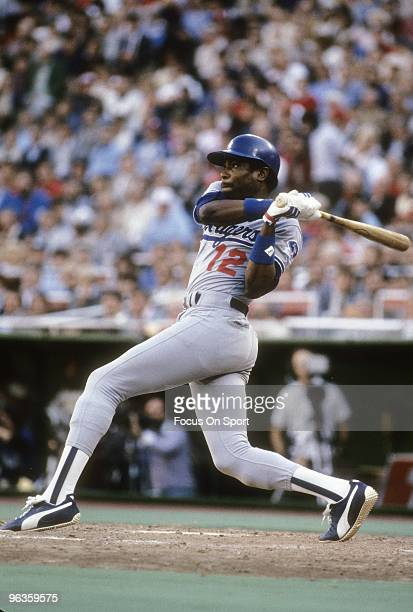 CIRCA 1970's Outfielder Dusty Baker of the Los Angeles Dodgers swings and watches the flight of his ball during a late circa 1970's Major League...