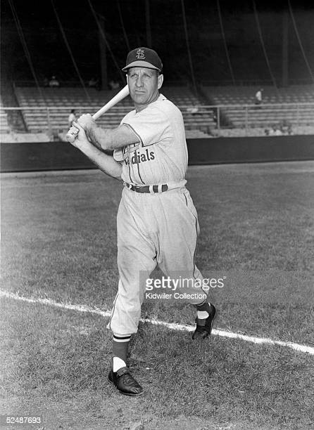NEW YORK CIRCA 1950's Outfielder Enos Slaughter of the St Louis Cardinals poses for an action portrait prior to a game in the early 1950's against...