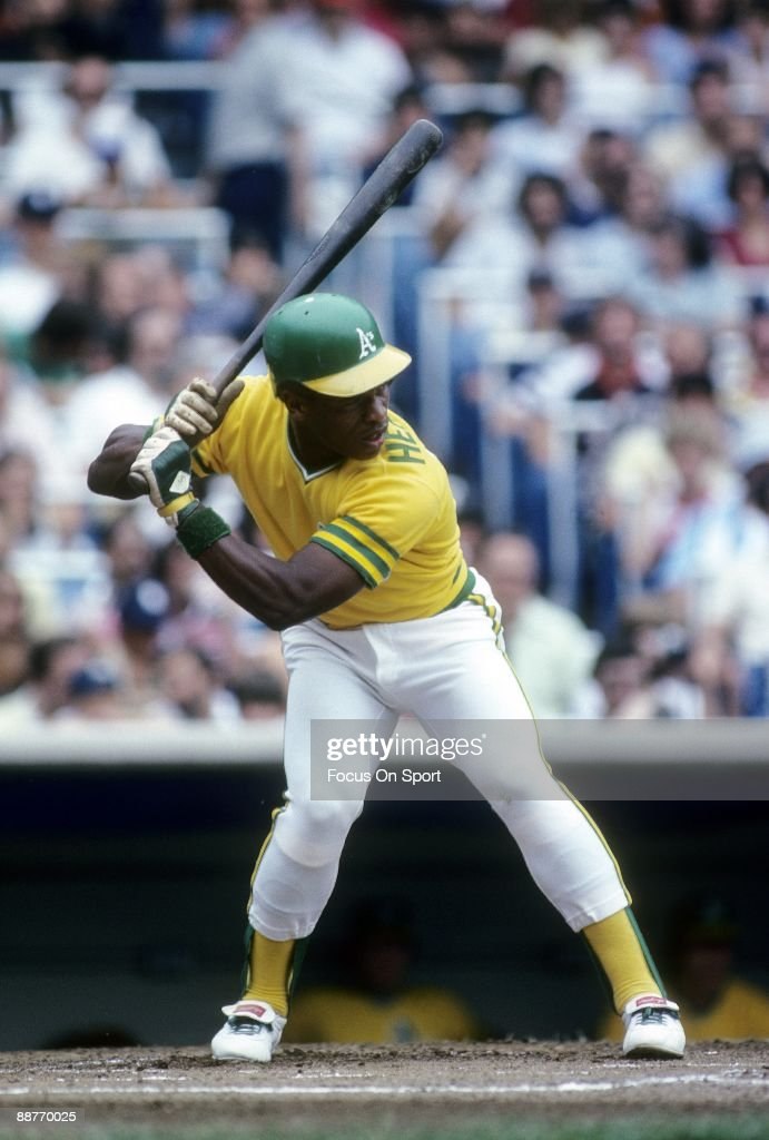 BRONX NY CIRCA 1980's Outfielder Rickey Henderson of the Oakland Athletics at the plate ready to hit against the New York Yankees during an early...