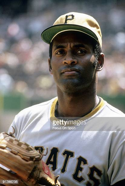 CIRCA 1970's Outfielder Roberto Clemente of Pittsburgh Pirates warms up before a MLB baseball game circa early 1970's Clemente' Played for the...