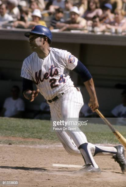 FLUSHING NY CIRCA 1970's Outfielder Willie Mays of the New York Mets swings and watches the flight of his ball during a circa early 1970's Major...