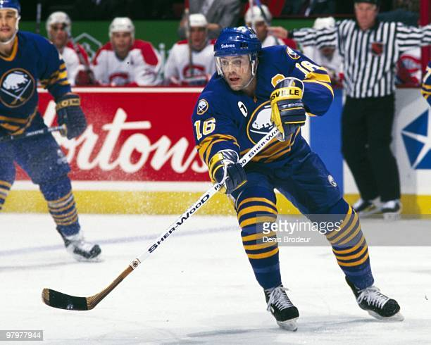 MONTREAL 1990's Pat LaFontaine of the Buffalo Sabres skates against the Montreal Canadiens in the 1990's at the Montreal Forum in Montreal Quebec...