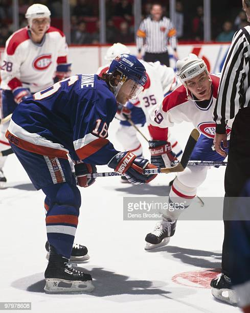 MONTREAL 1980's Pat LaFontaine of the New York Islanders prepares for the face off against the Montreal Canadiens in the 1980's at the Montreal Forum...