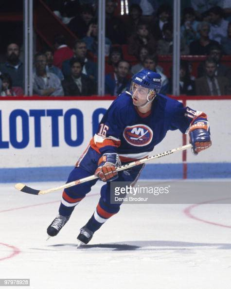 MONTREAL 1980's Pat LaFontaine of the New York Islanders skates against the Montreal Canadiens in the 1980's at the Montreal Forum in Montreal Quebec...