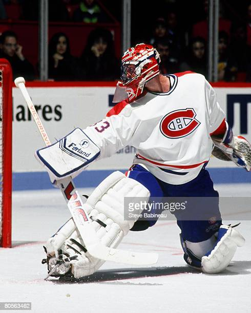 MONTREAL 1990's Patrick Roy of the Montreal Canadiens tends goal in game played at Montreal Forum
