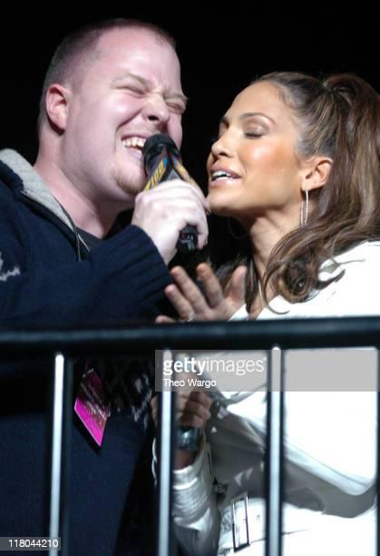 Z100's Paul Cubby Bryant and Jennifer Lopez during Z100's Jingle Ball 2003 Show at Madison Square Garden in New York City New York United States
