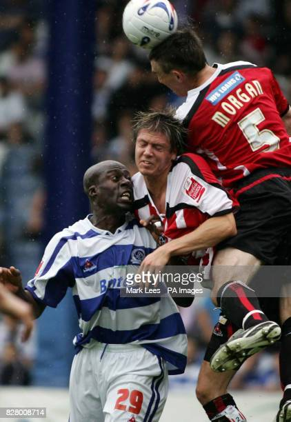 QPR's Paul Furlong is tacked by Sheffield United's Leigh Bromby and Chris Morgan
