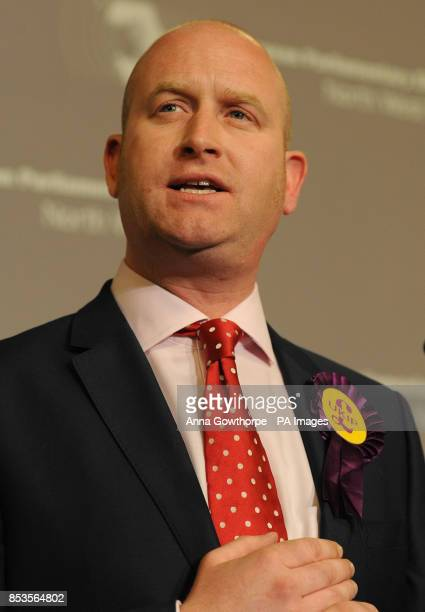 UKIP's Paul Nuttall gives a speech during the European Parliamentary elections count at Manchester Town Hall Manchester