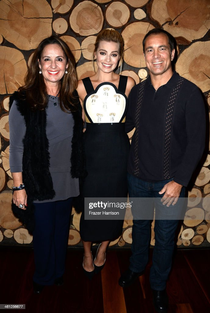 AIF's Paula Paizes, actress <a gi-track='captionPersonalityLinkClicked' href=/galleries/search?phrase=Margot+Robbie&family=editorial&specificpeople=5781742 ng-click='$event.stopPropagation()'>Margot Robbie</a> and Aif's Andrew Warne attend an Australians In Film Screening Of 'The Wolf Of Wall Street' at Landmark Theatre on January 7, 2014 in Los Angeles, California.