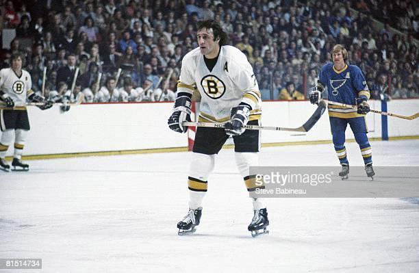 BOSTON MA 1970's Phil Esposito of the Boston Bruins skates in game against the St Louis Blues at the Boston Garden