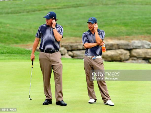 USA's Phil Mickelson and Anthony Kim on the 17th during the Foursome match against Europe's Oliver Wilson and Henrik Stenson during The Foursomes on...