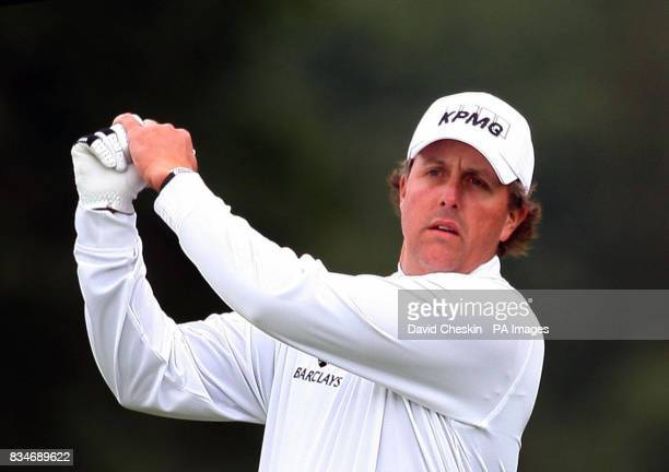 USA's Phil Mickelson gets ready for his shot on the 1st tee during The Barclays Scottish Open at Loch Lomond Glasgow