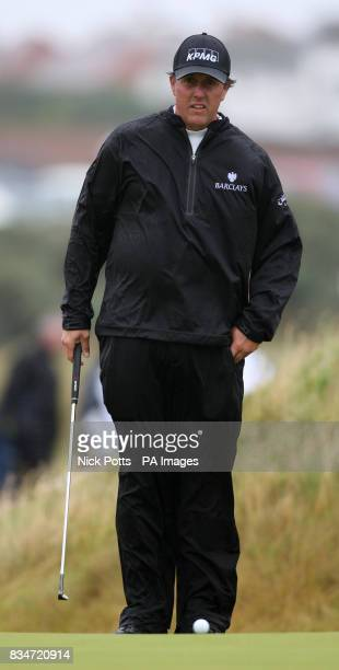 USA's Phil Mickelson on the 9th green during Round One of the Open Championship at the Royal Birkdale Golf Club Southport