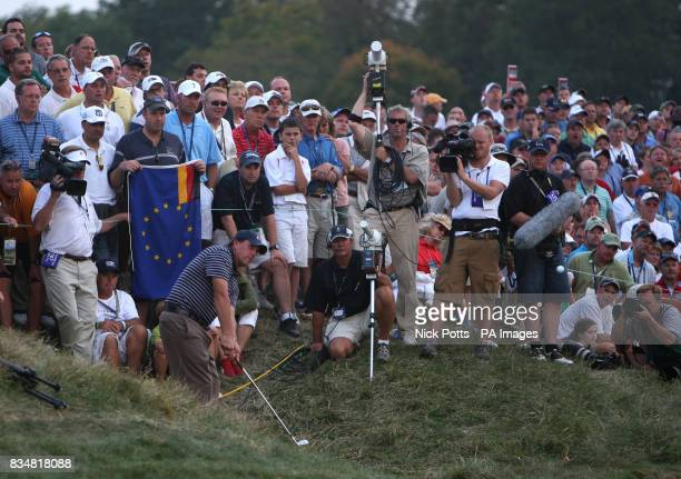 USA's Phil Mickelson plays onto the 18th green from the rough during The Fourballs on Day Two at Valhalla Golf Club Louisville USA