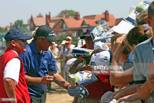 USA's Phil Mickelson signs autographs following a practice session at Royal Liverpool Golf Club Hoylake