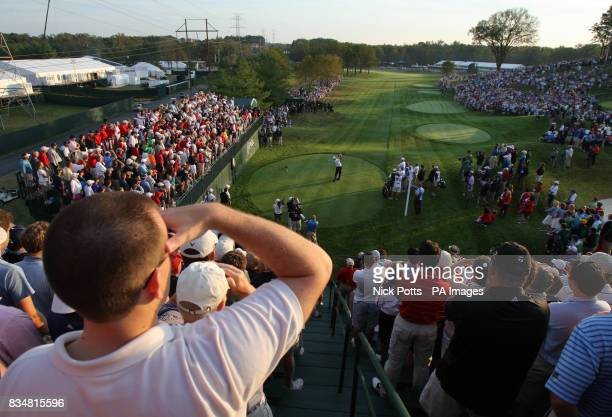 USA's Phil Mickelson takes his 1st tee shot on the 1st hole during The Foursomes on Day One at Valhalla Golf Club Louisville USA