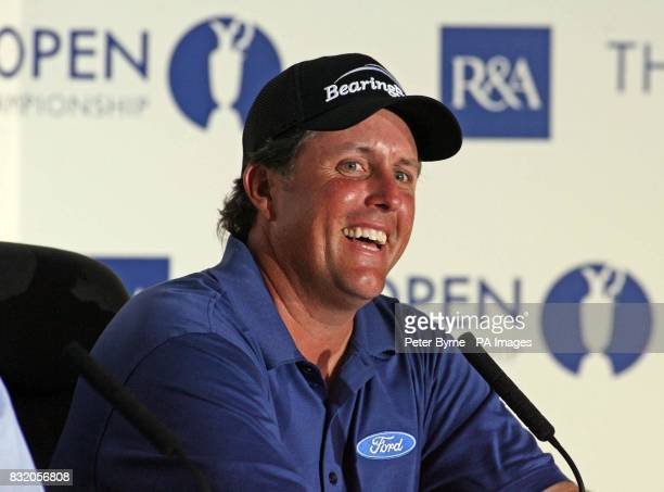 USA's Phil Mickelson talks to the media during a press conference in the Media Centre at the Royal Liverpool Golf Club Hoylake