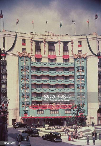 A 1930's photograph of the luxurious Dorchester Hotel on London's Park Lane which opened its doors on April 18th 1931