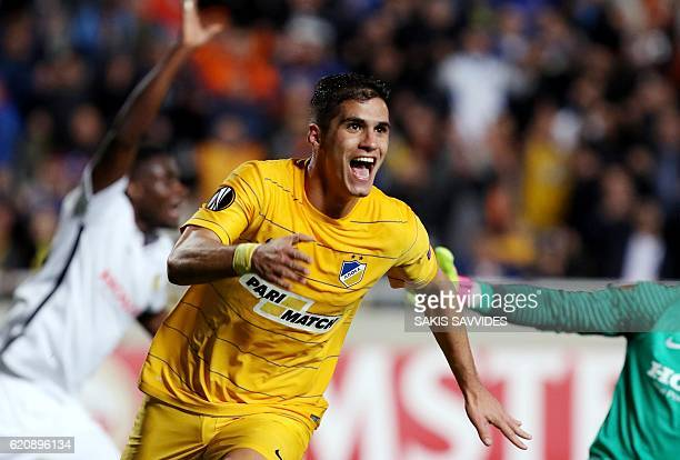 APOEL's Pieros Sotiriou celebrates after scoring a goal during their UEFA Europa League football match between Cyprus' APOEL of Nicosia and...