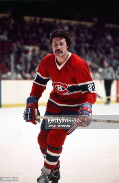 BOSTON MA 1970's Pierre Bouchard of the Montreal Canadiens skates in game against the Boston Bruins at Boston Garden