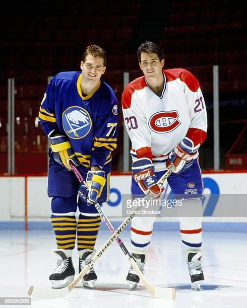 MONTREAL 1990's Pierre Turgeon of the Buffalo Sabres poses with older brother Sylvain Turgeon of the Montreal Canadiens in the early 1990's at the...