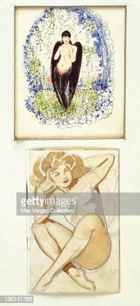 CIRCA 1940's Pinup art sketches by Alberto Vargas circa 1940's