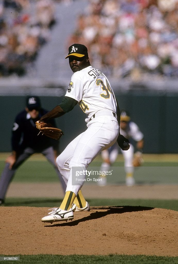 OAKLAND CA CIRCA 1980's Pitcher Dave Stewart of the Oakland Athletics pitches during circa late 1980's Major League Baseball game at the Oakland...
