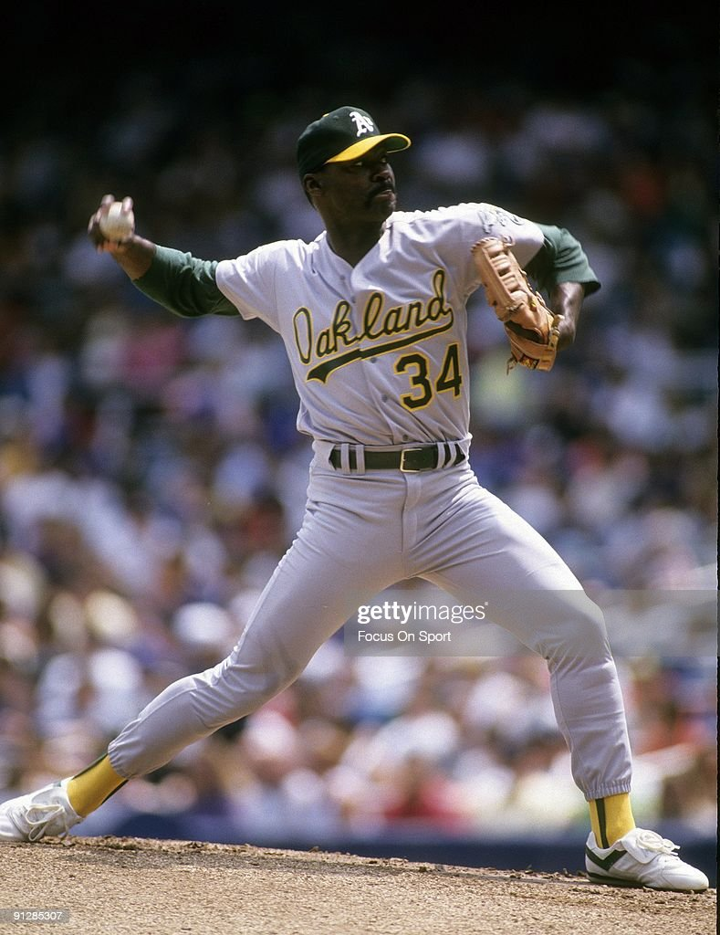 CIRCA 1980's Pitcher Dave Stewart of the Oakland Athletics pitches during circa late 1980's Major League Baseball game Stewart played for the...