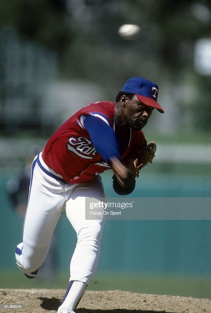 ARLINGTON TX CIRCA 1980's Pitcher Dave Stewart of the Texas Rangers pitches during circa mid 1980's Major League Baseball game at Arlington Stadium...