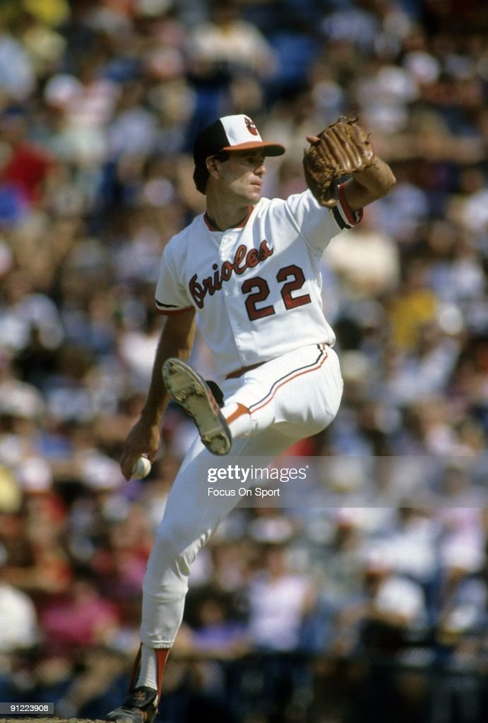 BALTIMORE, MD - CIRCA 1970's: Pitcher Jim Palmer #22 of the Baltimore Orioles pitches during circa early 1970's Major League Baseball game at Memorial Stadium in Baltimore, Maryland. Palmer played for the Orioles from 1965-84.