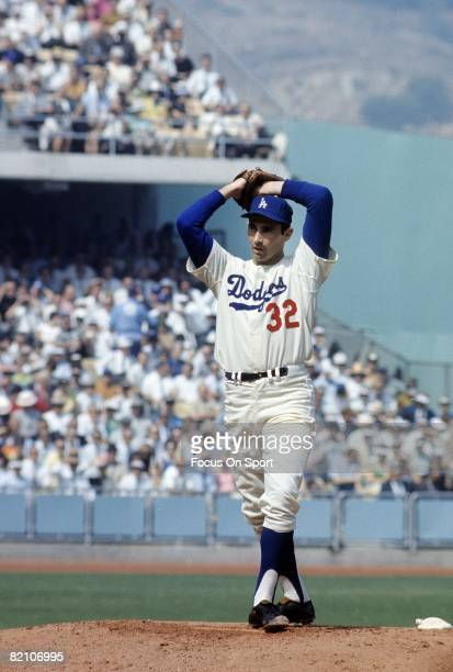 LOS ANGELES CA CIRCA 1960's Pitcher Sandy Koufax of the Los Angeles Dodgers goes into his windup during a circa mid 1960's Major League Baseball game...
