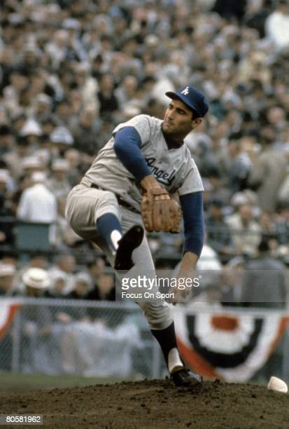 CIRCA 1960's Pitcher Sandy Koufax of the Los Angeles Dodgers stares in to get the sign from the catcher during a circa mid 1960's Major League...