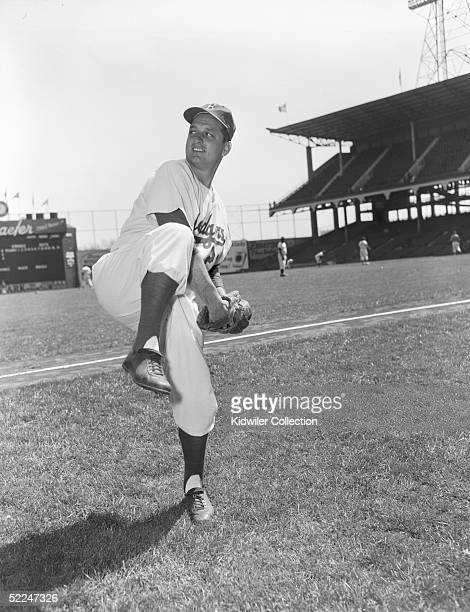 BROOKLYN NY 1950's Pitcher Tom Lasorda of the Brooklyn Dodgers poses for the camera at Ebbets Field in Brooklyn New York in the 1950's Lasorda played...