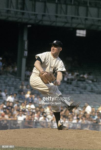 BRONX NY CIRCA 1960's Pitcher Whitey Ford of the New York Yankees pitches during circa early 1960's Major League Baseball game at Yankee Stadium in...