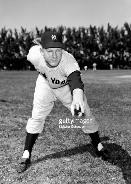 ST PETERSBURG FL 1950's Pitcher Whitey Ford of the New York Yankees poses for an action portrait during circa 1950's Spring Training in St Petersburg...