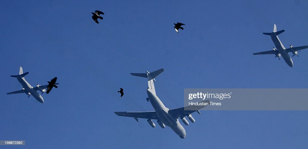 IAF's planes make a formation participating rehearsal for the Republic Day parade 2013 at Rajpath on January 21, 2013 in New Delhi, India.
