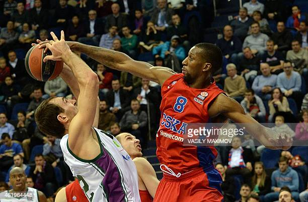 CSKA's player Nichols Demetris vies with Unicaja's player Vladimir Golubovic during their Euroleague basketball game in Moscow on January 22 2015 AFP...
