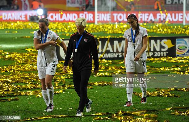 USA's players react after the FIFA Women's Football World Cup final match Japan vs USA on July 17 2011 in Frankfurt am Main western Germany Japan won...