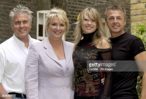 80's pop stars Bucks Fizz from left to right Bobby Gee Cheryl Baker Mike Nolan and Shelley Preston pose for photographers at Hush in central London...