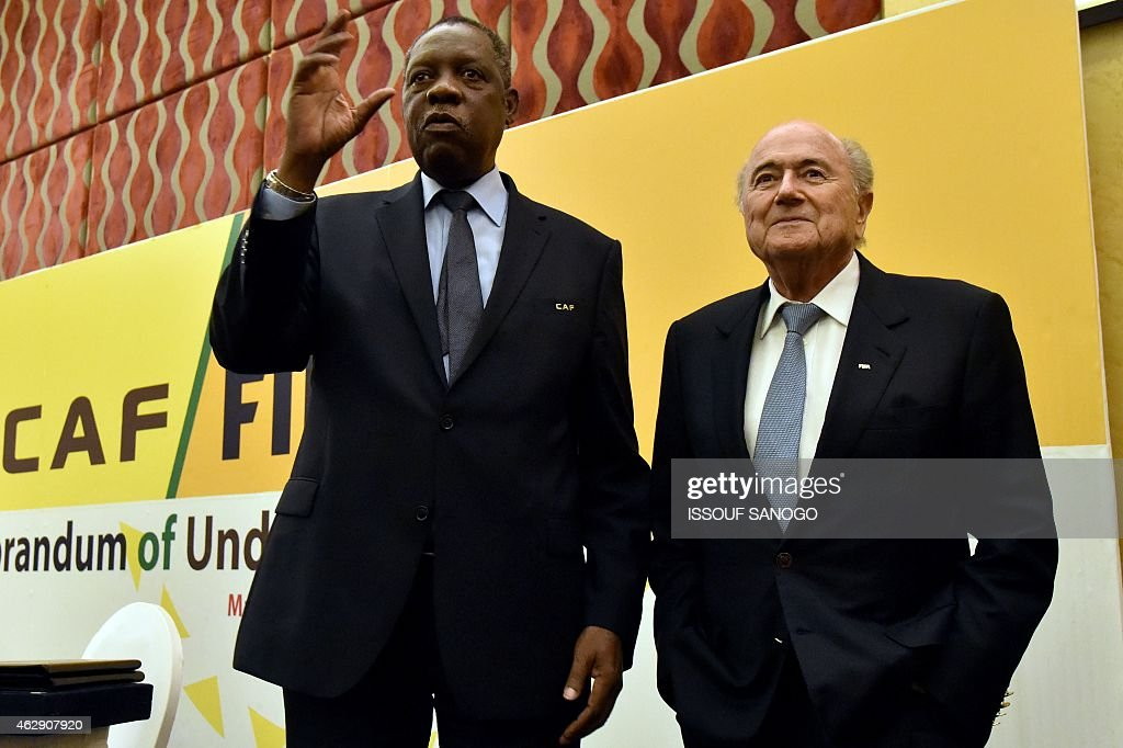 FIFA's president Joseph Sepp Blater and CAF's president Issa Hayatou pose during a press conference on Febuary 7 2015 in Malabo AFP PHOTO / ISSOUF...