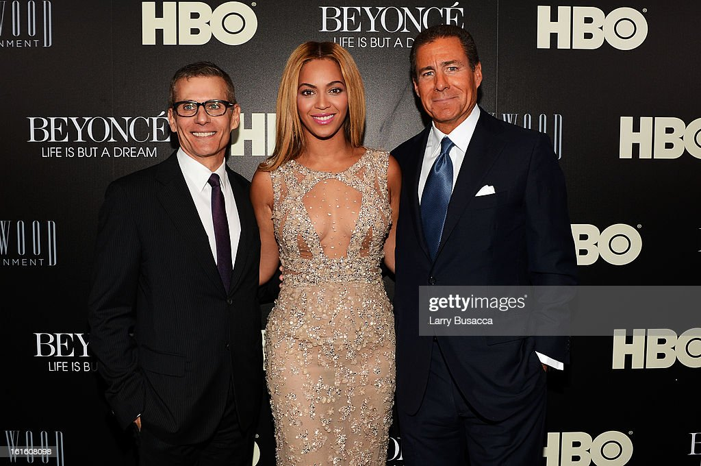 HBO's President of Programming Michael Lombardo , Beyonce and HBO CEO <a gi-track='captionPersonalityLinkClicked' href=/galleries/search?phrase=Richard+Plepler&family=editorial&specificpeople=584118 ng-click='$event.stopPropagation()'>Richard Plepler</a> attend the HBO Documentary Film 'Beyonce: Life Is But A Dream' New York Premiere at the Ziegfeld Theater on February 12, 2013 in New York City.