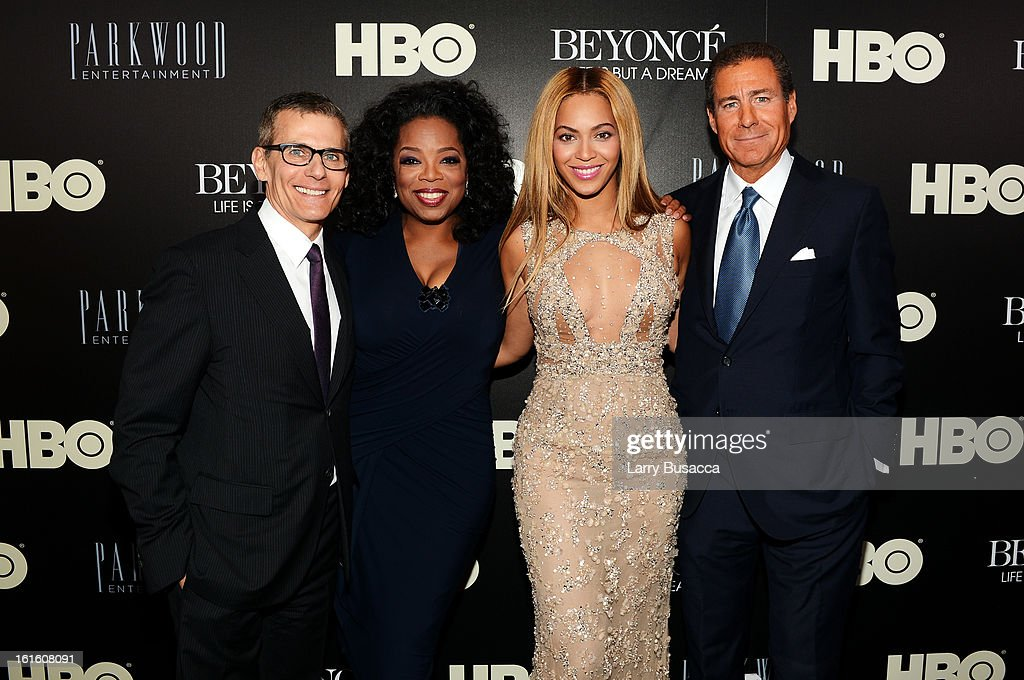 HBO's President of Programming Michael Lombardo, Oprah Winfrey, Beyonce and HBO CEO Richard Plepler attend the HBO Documentary Film 'Beyonce: Life Is But A Dream' New York Premiere at the Ziegfeld Theater on February 12, 2013 in New York City.