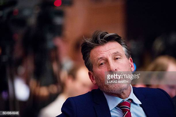IAAF's President Sebastian Coe attends a press conference on the report of the World AntiDoping Agency concerning allegations of widespread doping in...