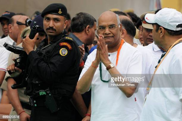 NDA's Presidential candidate Ram Nath Kovind during the International Day of Yoga celebrations at Connaught Place on June 21 2017 in New Delhi India