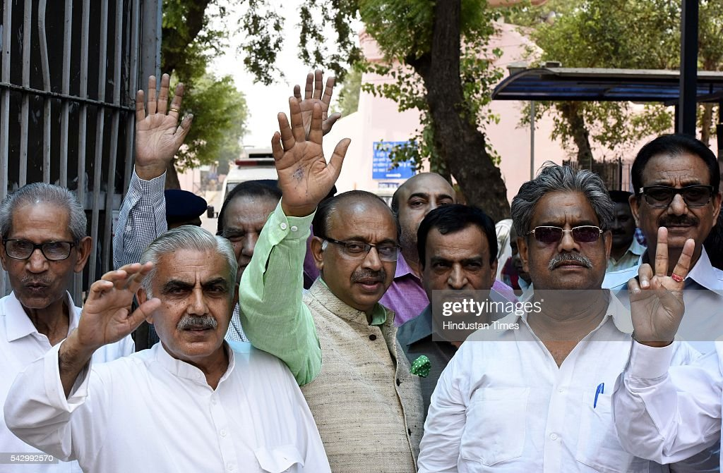 BJP's Rajya Sabha member Vijay Goel with a delegation of members detained in Tihar Jail, visit to remember fight against dictatorship during emergency, on June 25, 2016 in New Delhi, India, In India, 'the Emergency' refers to a 21-month period from197577 when Prime Minister Indira Gandhi unilaterally had a state of emergency declared across the country. Officially issued by President Fakhruddin Ali Ahmed under Article 352(1) of the Constitution for 'internal disturbance', the Emergency was in effect from 25 June 1975 until its withdrawal on 21 March 1977.