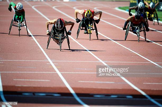 USA's Raymond Martin competes to win the Men's 200m T52 final at the IPC Athletics World Championships on July 25 2013 at the Rhone Stadium in...
