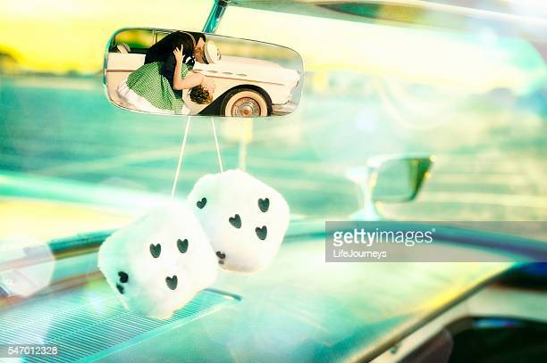 50's Rear View Mirror Couple's Shot With Furry Dice