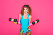 A 1980's styled fitness instructor