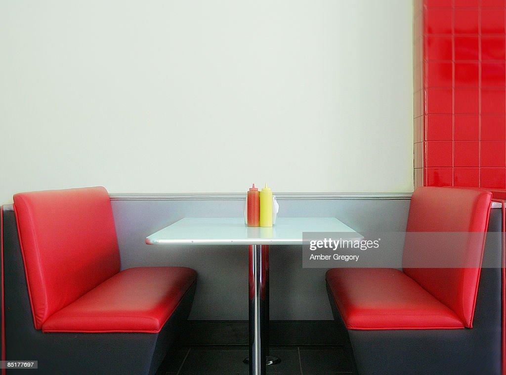50's retro style diner table : Stock Photo
