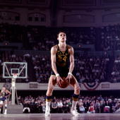 1970's Rick Barry of the Golden State Warriors shoots with his unorthodox freethrow style during an NBA game circa 1970's NOTE TO USER User expressly...